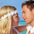 Couple At Beautiful Beach Wedding — Stock Photo #25045899