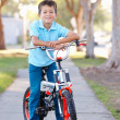 Boy Riding Bike On Path - Stock Photo