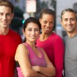 Portrait Of Running Group On Urban Street — Stock Photo