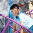 Boy On Climbing Frame In Park - Stock Photo