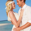 Couple At Beautiful Beach Wedding — Stock Photo #25046415
