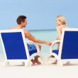 Couple On Beach Relaxing In Chairs — Stock Photo
