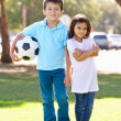 Two Children Playing Soccer Together — Stock Photo