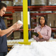 Factory Worker And Manager Checking Goods On Production Line — Stock Photo