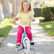 Girl Learning To Ride Bike On Path — Stock Photo