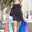 Woman Carrying Shopping Bags On City Street - Stock Photo