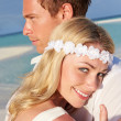 Couple At Beautiful Beach Wedding — Stock Photo #25048497