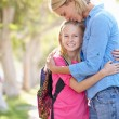 Mother And Daughter Walking To School On Suburban Street — Stock Photo #25048745