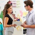Man And Woman Meeting In Fashion Design Studio — Stock Photo #25048765