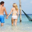 Romantic Couple Standing In Beautiful Tropical Sea — Stock Photo