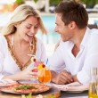 Couple Enjoying Meal In Outdoor Restaurant — Stock Photo