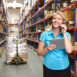 Businesswoman Using Digital Tablet In Distribution Warehouse — Stock Photo