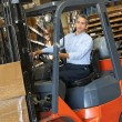 Man Driving Fork Lift Truck In Warehouse — Stock Photo #25049955