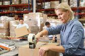 Werknemers in distributie magazijn — Stockfoto