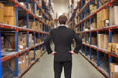 Rear View Of Manager In Warehouse — Foto Stock