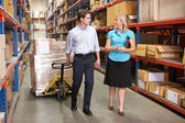 Businesswoman And Colleague In Distribution Warehouse — Stok fotoğraf