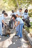 Squadra di volontari raccogliendo i rifiuti in strada suburbana — Foto Stock