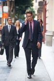 Businessman Outside Office On Mobile Phone — Stock Photo