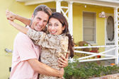 Husband Welcoming Wife Home On Army Leave — Stock Photo