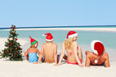 Family Sitting On Beach With Christmas Tree And Hats — Stock Photo