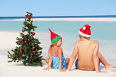Boy And Girl Sitting On Beach With Christmas Tree And Hat — Stock Photo