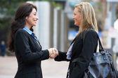 Two Businesswomen Shaking Hands Outside Office — Stock Photo