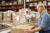 Workers In Distribution Warehouse — Foto Stock