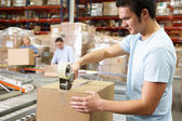 Workers In Distribution Warehouse — Stock Photo