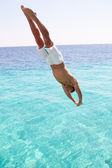 Man Diving Into Sea — Stock Photo