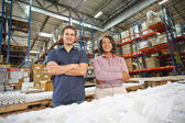 Portrait Of Factory Worker And Manager On Production Line — Stock Photo