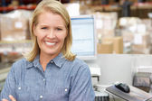 Woman At Computer Terminal In Distribution Warehouse — Stock Photo