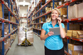 Businesswoman Using Digital Tablet In Distribution Warehouse — 图库照片