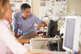 Workers At Desks In Busy Creative Office — Stock Photo