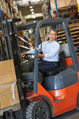 Man Driving Fork Lift Truck In Warehouse — Stok fotoğraf