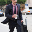 Businessman Hurrying Along Street Holding Takeaway Coffee — Stock Photo