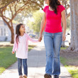 Mother And Daughter Walking Along Path - Foto Stock