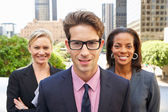 Portrait Of Three Business Colleagues Outside Office — Stock Photo