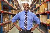 Portrait Of Businessman In Warehouse — Stockfoto