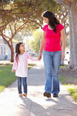 Mother And Daughter Walking Along Path — Stock Photo
