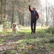Man with his dog in the woods playing fetch — Stock Video #25259883