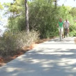 Romantic senior couple cycling along country path  — Video