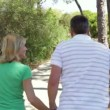 Romantic senior couple holding hands as they walk along country path. — Stock Video