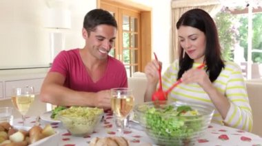 Couple seated around dining table — Stock Video