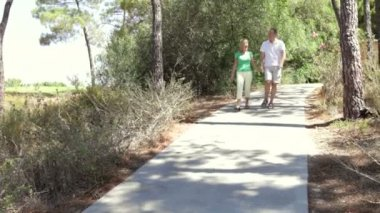 Senior couple holding hands as they walk along country path. — Stock Video