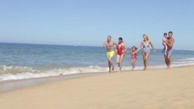 Extended family group running along shoreline — Stock Video