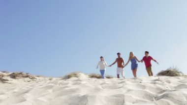 Group of friends in casual clothing running down sand dune — Stock Video