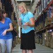Female manager in warehouse with clipboard asking worker question about product which she then picks up from box. — Stock Video