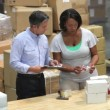Manager and worker examining goods prior to dispatch. — Stock Video