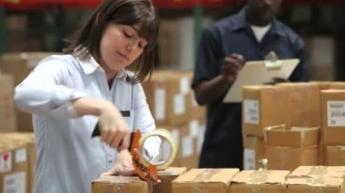Female working using tape dispenser to seal packages prior to dispatch. — Stock Video