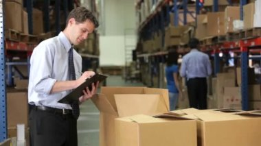 Manager checks consignment details on boxes against details on clipboard. — Stock Video